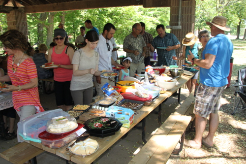 Annual gathering for The First Mennonite CHurch picnic at Balls Falls Provinvial park.